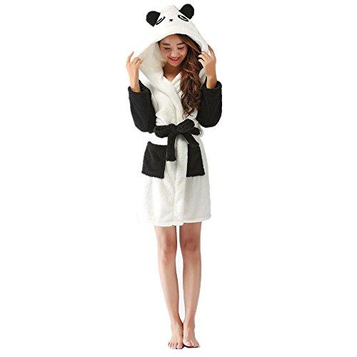 Crazy lin Frauen Bademantel Mädchen Tier Roben Hause Kapuzen Nachtwäsche Panda Schafe Kuh Rabbit Bademantel (Panda, L)