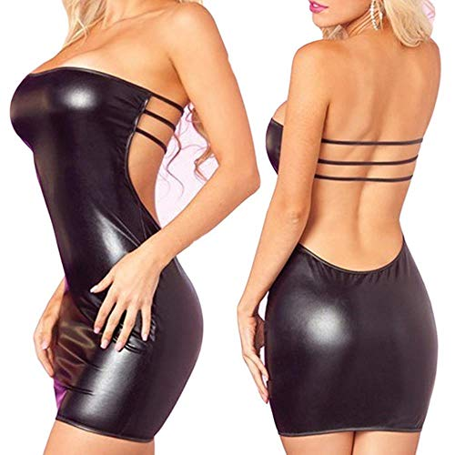 siyu Sexy Dessous Leder Erotik Anzug Frauen Trägerloses Kleid Latex Catsuit Rückenlos Lady Sheer Trikot PVC Kleid Bodysuit Leder, Schwarz, Büste 66-99 cm