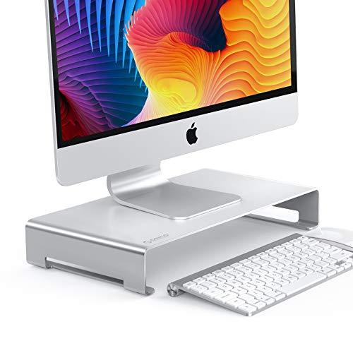 ORICO Soporte Monitor de Aluminio, Soporte Pantalla Ordenador con Organizador de Almacenamiento para Teclado y Mouse para iMac/MacBook/Laptop/PC Stand (Plata, tamaño: 15.7 * 8.3 * 1.8 Pulgadas)