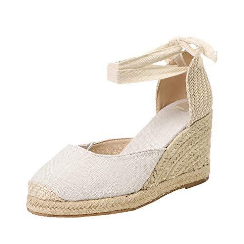 hibote Mujeres Correa de Tobillo Tacón de cuña Alta Sandalias con Punta Cerrada Damas con Cordones Plataformas Alpargatas Zapatos de Fiesta de Baile