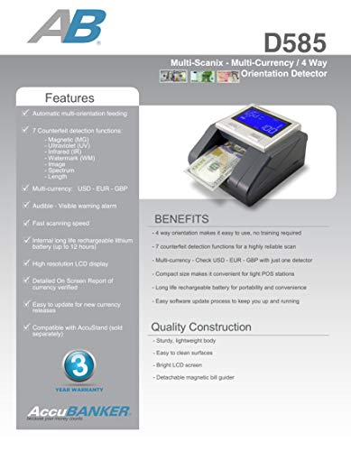AccuBANKER D585 Multi-Scanix Counterfeit Currency Detector, Multi-Orientation Feeding System, Banknote Verification, Multi-Currency Detection (USD, EUR, GBP), Visual and Audible Alerts