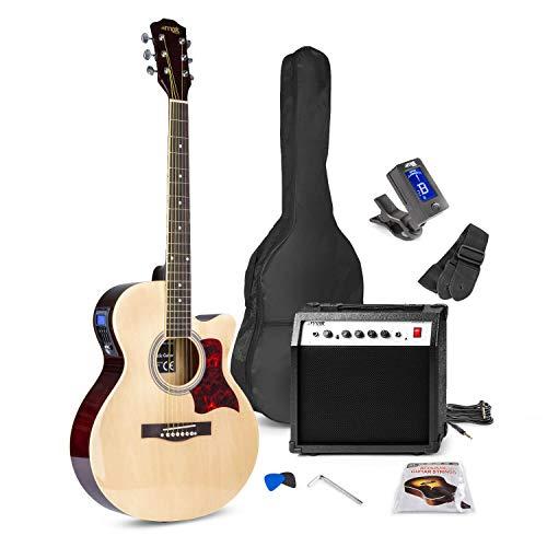 MAX ShowKit Akustische E-Gitarre Set mit Verstärker 40 Watt, Gitarrentasche, Gitarrenstimmgerät, Instrumentenkabel, Plektrum und E Akustikgitarre in Natur Holz
