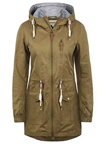 DESIRES Inata Damen Übergangsmantel Parka Lange Jacke Mit Kapuze, Größe:XL, Farbe:Ermine (5944)