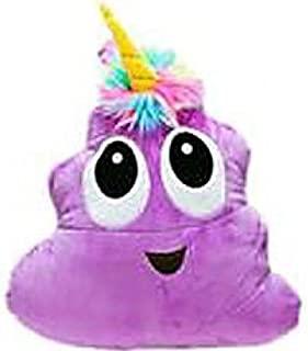 Purple Poo-Nicorn Emoji Pillow, The Poo Emoji with a Unicorn Horn and Rainbow Hair