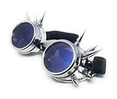 Ultra Silver with Blue Lenses Spike Steampunk Goggles Steam Punk Men Womens Goggles Cyber Pilot Goggles Punk Women Accessories Rave Glasses Welding Goggles Flying Rustic Goggles Steam Punk Goggle #1