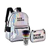Estilosa Holográfica Now United Mochila Original Clio + Estojo Oficial Now United Clio Confortável e Espaçosa