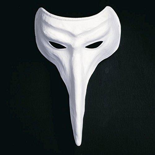 NET TOYS Weiße Schnabelmaske Venezianische Schnabel Maske Raben Maske Venedig Pestmaske Pantalone Ballmaske Karnevalsmaske Faschingsmaske
