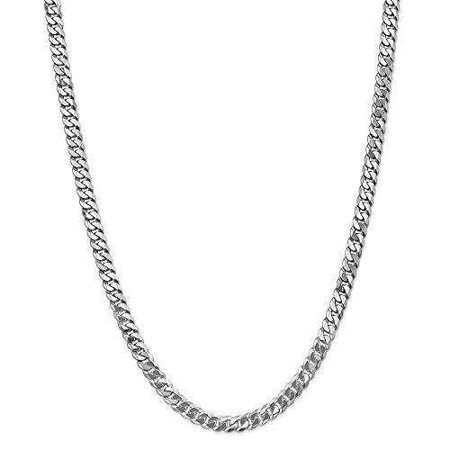 Photo of 14ct White Gold 6.5mm Flat Curb Chain Necklace for Men Women