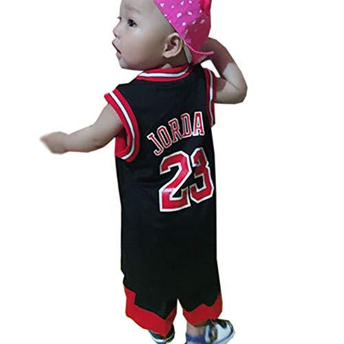 Jungen Mädchen Chicago Bulls 23# Michael Jordan Basketball Trikot Anzug-Kinder Babys 2 Stück Sommer Trainingsanzug Loungewear Tops und Shorts Set-black-2XS