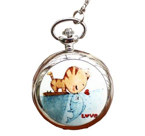Infinite U El beso de Gato y Pez Colgante con Espejo Reloj de bolsillo
