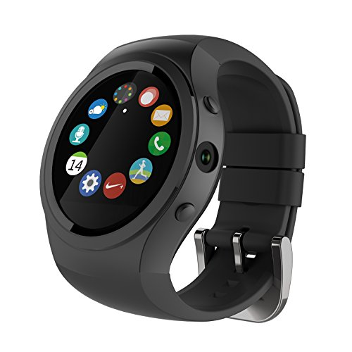 Jiazy Activity Tracker Bluetooth 1.22 pollici IPS Touch Screen GPS Tracker Braccialetto Smart SOS Frequenza cardiaca / monitoraggio sonno Telecamera remota Step Tracker Calorie Counter (nero)