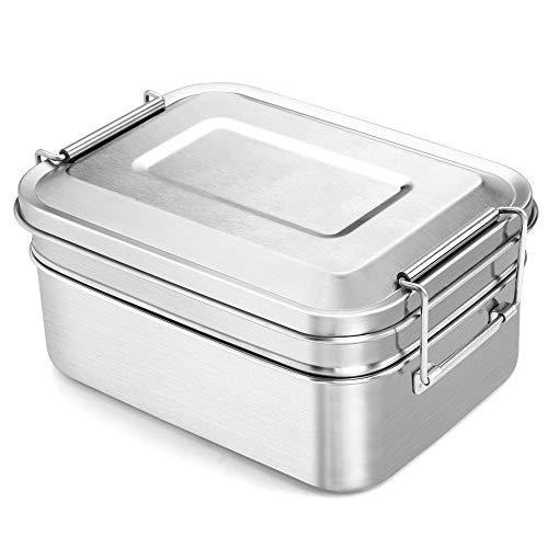 Adkwse Brotdose Edelstahl 2000ML Brotzeitdose Groß mit 2 Fächern Lunch Box BPA-Free Auslaufsicher Brotzeitbox Vesperdose Frühstücksbox Geeignet für Erwachsene, Kinder, Büro und Ausflug