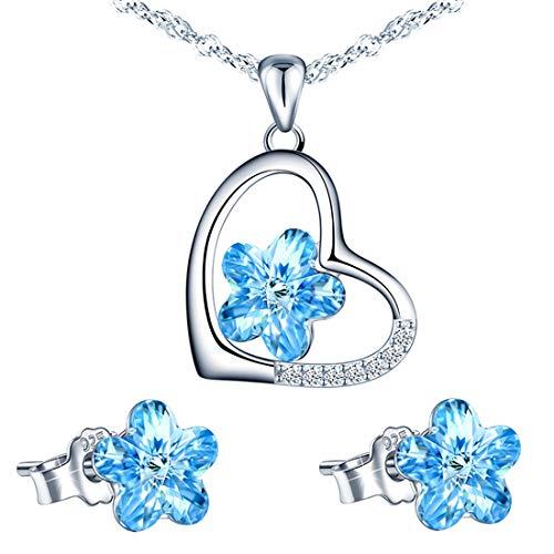 Beforya Paris – Flower – Corazón de flores – Maravilloso juego de joyas de plata 925 – Precioso juego de joyas para mujer con cristales de Swarovski Elements – Juego de joyas con caja de regalo