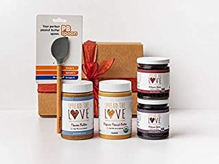 Spread The Love Gift Set (5 pc count) NAKED Organic Peanut Butter, ALMOND FLAX Power Butter, MARIONBERRY Jam, RASPBERRY Jam, Handcrafted Spoon perfect for all Nut Butters and Jams