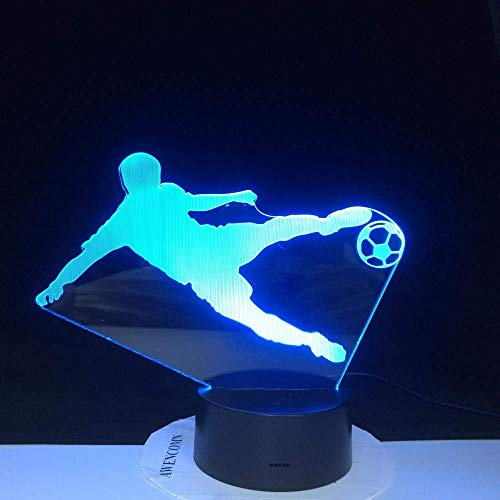 Boutiquespace 3D Illusion Lamp Led Night Light Play Soccer 7 Colorful Touch USB Table Lamp Children Baby Kids Birthday Party Gift Home Decoration Kids Sleep Lamp