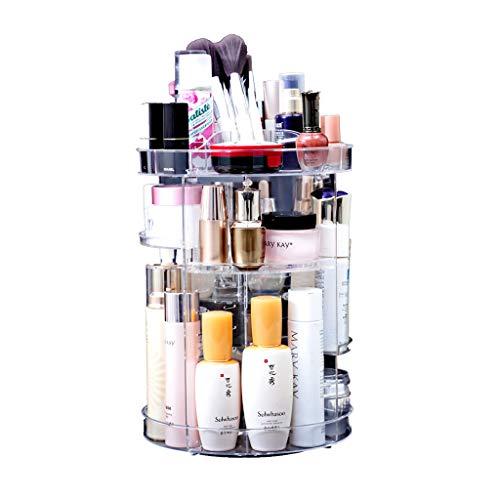 Yxsd Organisateur de Maquillage, présentoir réglable de Bijoux et de cosmétiques pivotant à 360 degrés, boîte de Rangement Transparente pour Le Maquillage, 9,3 x 13,7 po