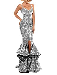 Silver Sequin Prom Gown Mermaid Bodycon Dress