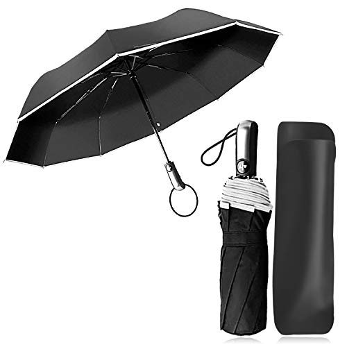 Ombrello Pieghevole Automatico Antivento Ombrello Portatile Resistenza Compatto Pioggia Ombrello da Viaggio con Sicura Striscia Riflettente per Uomo e Donna JAANY