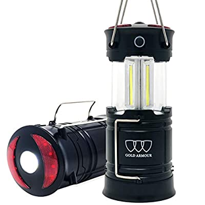 Gold Armour Camping Lanterns, Rechargeable Led Lantern, Hurricane Lights with Flashlight and Magnet Base Emits 500 Lumens for Camping, Hurricane, Hiking, Emergency, Outage (1 Pack)