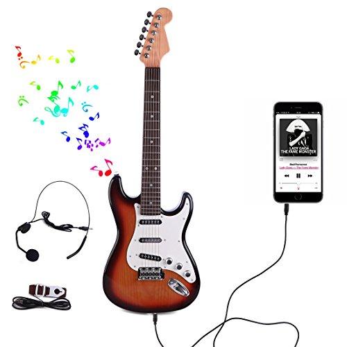 MZZYP Guitarra eléctrica for niños, 6 Cuerdas Rock Guitar Niños con micrófono,...