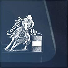 Cowgirl Up Barrel Racing Racer Clear Vinyl Decal Sticker for Window, Horse Sign Art Print Design
