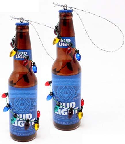 Kurt Adler Budweiser and Bud Light Beer Bottle Ornaments (Bud Light Two Pack)