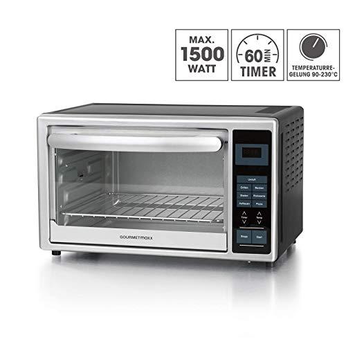 GOURMETmaxx 00968 infrarood oven met digitaal display 28L 1500 Watt (mini-oven voor pizza met pizzasteen rotisserie, spies, grillrooster en bakplaat) zwart zilver