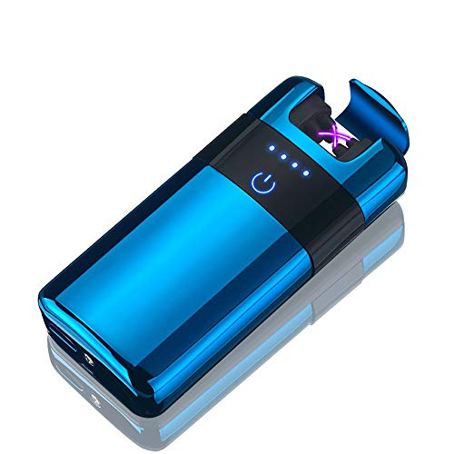 BECROWMUS Wireless Rechargeable Electronic Double Arc Plasma Lighter - Cigarette Lighter Flameless Windproof, USB Cable, Elegant Gift Box (Blue)