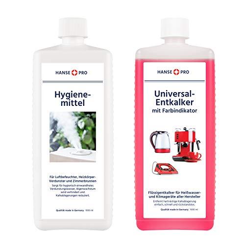 Hansepro Pflege-Set für Luftbefeuchter und Luftwäscher, 2 x 1000 ml I Hygiene-Mittel I hält Verdunstwasser hygienisch einwandfrei I Universal-Entkalker I Flüssig-Entkalker gegen Wiederverkalkung