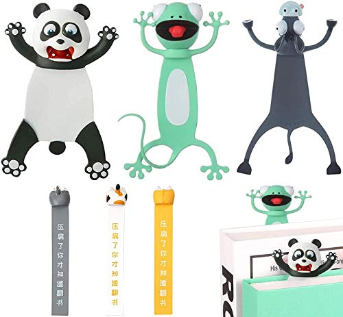 Gogmooi 3D Animal Cartoon Bookmarks 6 Pcs, Wacky and Cute 3D Novel Animal Bookmarks for Kids, Lovely Cartoon Dog Cat Hamster Butt Elasticitys Bookmark for Book Lovers