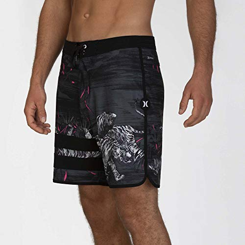 Hurley M Phtm Block Party Tiger Style 18' Shorts da Surf, Uomo, Black, 34