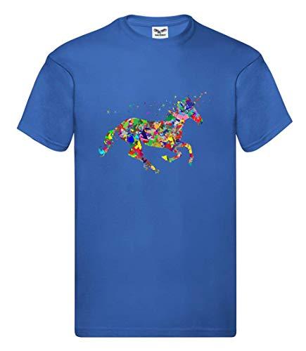 Druckerlebnis24 Camiseta – Multicolor Prismático cromático Arco Iris – Camiseta para Hombre y Hombre Azul Cobalto M