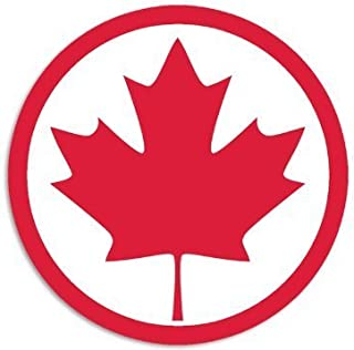 NI506 Canada Round Maple Leaf Decal Sticker | 5.5-Inches | Premium Quality Red Vinyl Decal