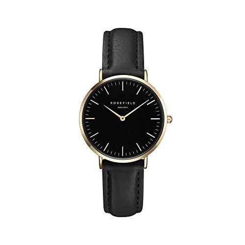 Rosefield Damen Analog Uhr The Tribeca Schwarz Schwarz Gold TBBG-T56