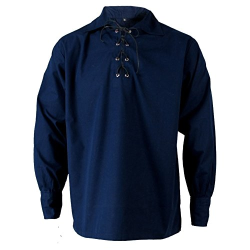 Tartanista - Herren Jakobiter-/Ghillie-Hemd - Scottish-Highland-Stil - Dunkelblau - M