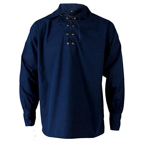 Tartanista - Herren Jakobiter-/Ghillie-Hemd - Scottish-Highland-Stil - Dunkelblau - XL