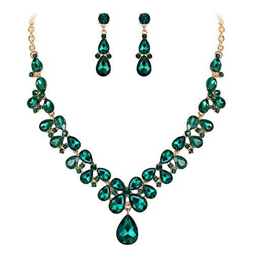 Clearine Mujer Joyas Novia Cristal Lágrima Moda Collar Statement Pendientes Boda Joyería Conjuntos Elegante Verde Nuevo