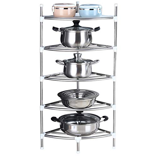 NYKK Kitchen Vegetable Storage Organizer Stainless steel tripod Cookware Stand Free Standing Pot Rack Industrial Corner Shelf Storage Rack Plant Stand for Home Office Fruit Basket Stand for Storing