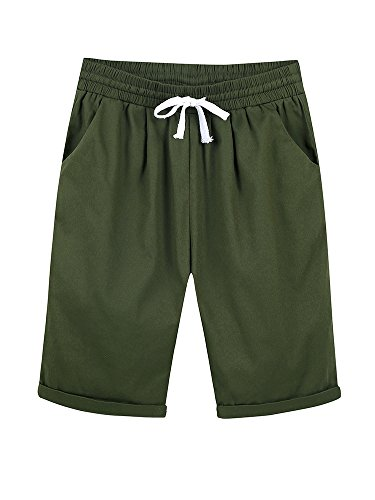 Women's Casual Elastic Waist Knee Length Curling Bermuda Shorts with Drawstring Army Green - M
