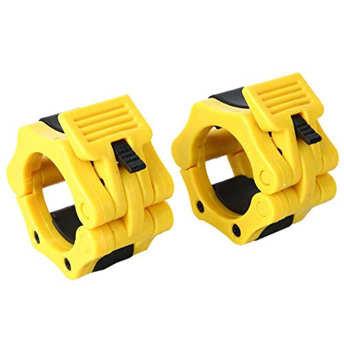 NoxwB Barbell Clamp 50mm Pair of 2 Inch ABS Locking Set of 2 Black Jaw Collar Training Muscle Clamp Bar Barbell Buckle (Yellow)