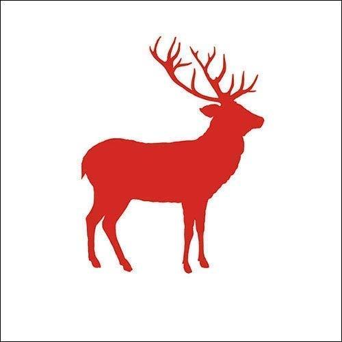 Ambiente Serviettes Motif : Cerf Contour Rouge - Cerf Rouge, 33x33cm, Triple Épaisseur 20 Morceaux Emballage