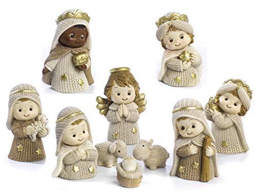 PABEN Set Presepe Completo Bambini in Resina, 10 Personaggi cm. 5,8