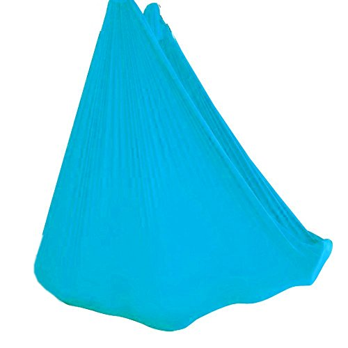 Wellsem Deluxe 5m Aerea Yoga Hammock del Tessuto di Seta Pilates Volare Yoga Altalena per Yoga Bodybuilding (5mx2.8m) Cielo Blu