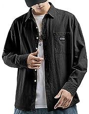 JHIJSC シャツ メンズ 長袖 カジュアル シャツジャケット 春秋冬 無地 おしゃれ 大きいサイズ