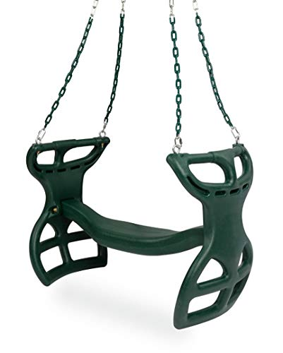 Milliard Glider Swing for Swingset, Swing Set Accessories, Back-to-Back Glider for Two Kids, Attachment Options Included, Green
