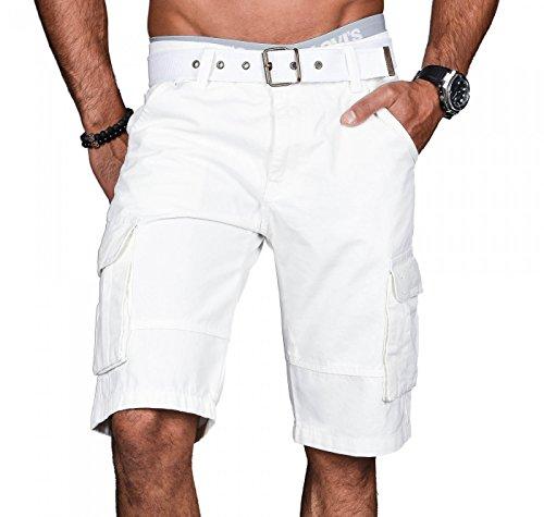 Alessandro Salvarini A.Salvarini Stylische Herren Cargo Short inkl. Gürtel Sommer Bermuda Kurze Hose Army Shorts AS-037 [AS037 - Weiss - W34]