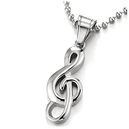 COOLSTEELANDBEYOND Clave de Sol Muestra Música Collar Colgante para Hombre Mujer, Acero Inoxidable, Bola Cadena 60CM