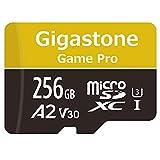 Gigastone Carte Mémoire Micro SD XC 256 Go + Adaptateur SD. Vitesse de Lecture allant jusqu'à 100 Mo/s et écriture de 80 Mo/s. Classe 10, U3 A2 V30. Performances applicatives A2.