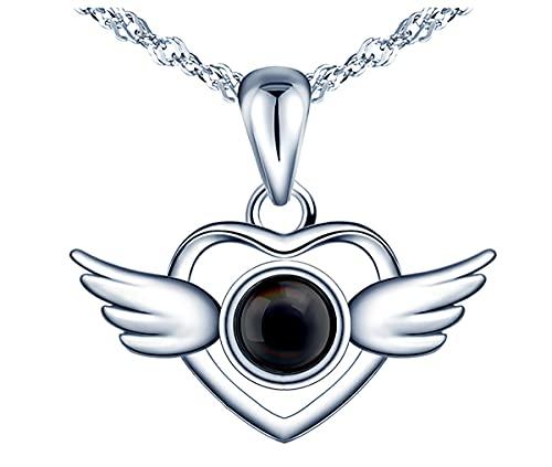 * Beforia París * Collar de plata 925 – Corazón de las alas con perlas – Colgante de plata 925 con circonita – Collar de mujer con elegante estuche de joyería