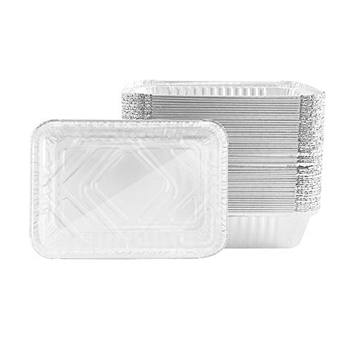 Olymajy Bandeja de Papel Desechable, Bandejas de Papel de Aluminio, 25 bandejas grandes de papel de aluminio con tapa...